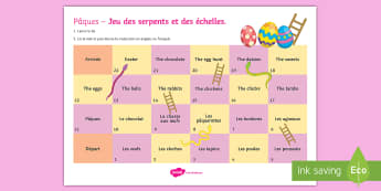 Easter Snakes and Ladders French - KS3, French, Easter,game, jeu, Snakes, ladders, Pâques,  vocabulary,French