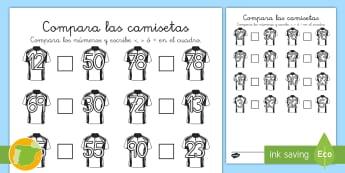 Ficha de comparar números: Camisetas de fútbol - deporte, mayor que, menor que, igual, cifras, mates, matemáticas, copa mundial,,Spanish