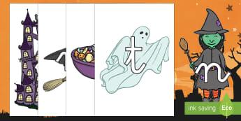 Tarjetas de fonemas de Halloween