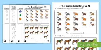 The Queen Counting to 20 Activity Sheet - The Queen's Birthday, counting mathematics, maths, number and algebra, counting, foundation, Number