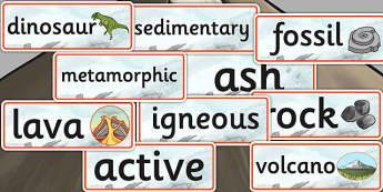 Rocks Volcanoes and Fossils Word Cards - word cards, geography