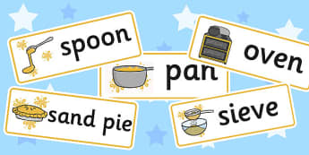 Sand Kitchen Labels - label, visual, kitchens, messy, stickers