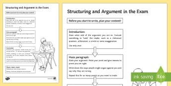 How to Structure an Argument Activity Sheet - AQA GCSE Specific Question Resources, structure, language, worksheet.