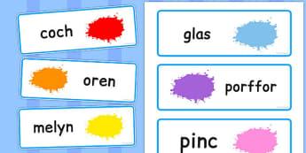 Cardiau Fflach Lliwiau - colour, word, cards, welsh, words