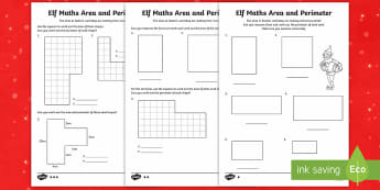 Elf Area and Perimeter Differentiated Activity Sheets - LKS2, maths, Christmas, elf, area, perimeter, measure, lower ks2, key stage 2.