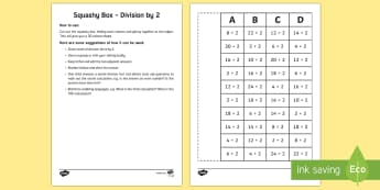Squashy Boxes Division by 2 - Mental Maths Warm Up + Revision - Northern Ireland, squashy boxes, division, divide by 2.