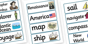 Christopher Columbus Word Cards - christopher columbus, word card