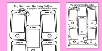 Summer Holiday Selfies Writing Template Spanish Translation - spanish, holiday, summer, term, break, holidays, selfie, selfy, photo, portrait, picture