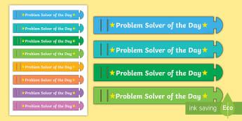 Problem Solver of the Day Wristband - ROI Numeracy - Problem Solving,Irish