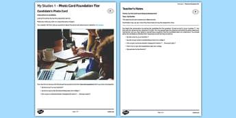 Mes études 1 Carte photo Foundation Tier - Picture, Education, Subjects, School, College, french, francai, gcse, practice