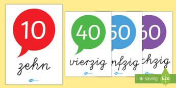 Nummern Wortschatz (10 120 in Zehner Schritten) Poster für die Klassenraumgestaltung - Nummern Wortschatz 10-120 in Zehner Schritten, Nummern Wortschatz, Nummern, Zahlen, Mathemathik, Mat