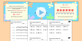 Year Division Using a Number Line Powerpoint Task Setter and Worksheets Activity Pack