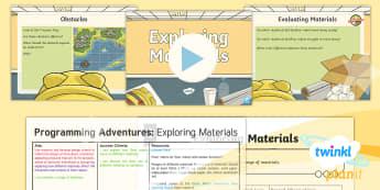 PlanIt D&T Upper KS2 - Programming Adventures Lesson Pack  Exploring Materials - Lesson 3 - materials, properties, cotton, silk, felt, cardboard, paper, bubble wrap, plastic, bee bot, Evaluate