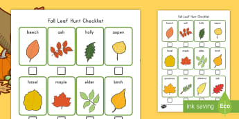 Fall Leaf Hunt Checklist - fall, seasons, activity, tree, leaves, leaf