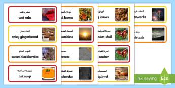 Autumn Senses Word Cards Arabic/English - Autumn Senses Word Cards - autumn, senses, word cards, word, cards,autmn,atumn,atumn,atumn,aurum,aur