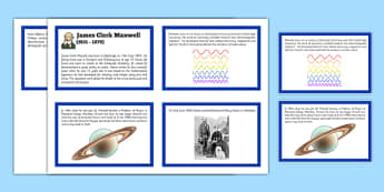 Scottish Significant Individuals James Clerk Maxwell Sequencing Cards - CfE, significant individuals, science, maths, engineering, electromagnetic radiation, famous Scottish