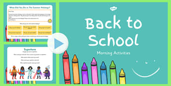 Keystage 1 Morning Activities PowerPoint - morning, activities, powerpoint