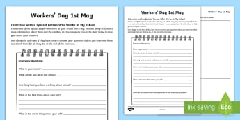 South Africa Workers' Day 1st May Interview Activity Sheet - South Africa Worker's Day 1st May, school workers, interview, jobs, appreciation,worksheet, workshe