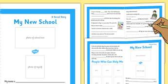 My New School Social Story Primary Personalised - new school, social