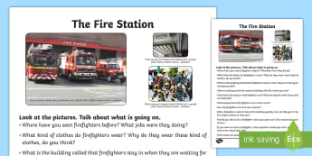 The Fire Station Oral Language Activity Sheet - SESE, geography, the community, oral language, activity sheet, the fire station, jobs, firefighter,