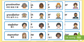 My Family Word Cards - English/Mandarin Chinese - My Family Word Cards - my family, word cards, word, cards, family,Family's, EAL
