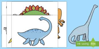 Dinosaurier Arbeitsblatt: Erstes Schneiden un Kleben - Dinosaurier Arbeitsblatt Erstes Schneiden und Kleben, Erstes Schneiden und Kleben, Schneiden und Kle