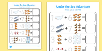 Under the Sea Adventure Trace, Count and Add Activity Sheet Pack - finding dory, finding nemo, under the sea adventure, fish, ocean, water, worksheet