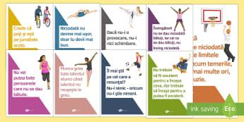 Citate motivaționale pentru sport - Planșe Planșe - dezvoltare personala, educatie fizica, sport, educație fizică, planșe, citate motivaționale.,Rom