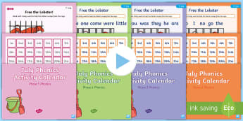 July Phonics Activity Calendar PowerPoint Pack - Reading, Spelling, Game, Starter, Sounds