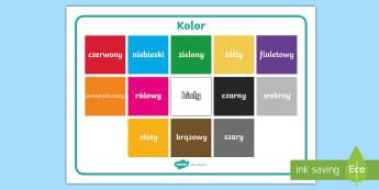 Plansza ze słownictwem Kolor - kolor, kolory, kolorystyczna, kolorowy, zielony, żółty, niebieski, czerwony, żółty, czarny, bi