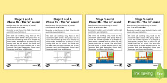 Northern Ireland Linguistic Phonics Stage 5 and 6 Phase 3b, 'er' Sound Activity Sheet