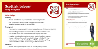 Scottish Labour Party 2017 Manifesto Child Friendly Guide - Elections, politics, politicians, Scottish, government, Holyrood, voting, child friendly language, s