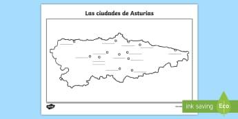 Ficha de actividad: Las ciudades de Asturias - Mapas, provinicias, mapas mudos, mapas en blanco, las ciudades de españa, comarcas, concejos, comun