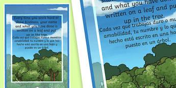 Achievement Tree Motivational Poster Spanish Translation--translation