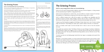 The Grieving Process Guide - bereavement, young people, parents, loss, change