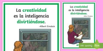 Póster DIN A2: La creatividad es la inteligencia divirtiéndose - póster, poster, pósters, DIN A2, mural, murales, exponer, exposición, decorar, decoración, einst