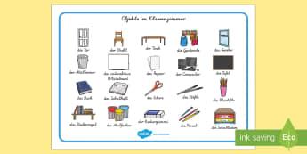 Objekte im Klassenzimmer German - german, classroom objects, classroom, objects, word mat, word, mat