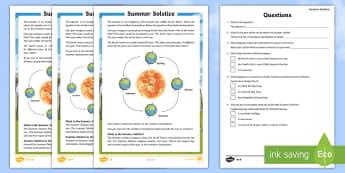 Summer Solstice CfE First Level Differentiated Reading Comprehension Activity - Summer Solstice, sun, midsummer, northern hemisphere, daylight, orbit, seasons, Stonehenge