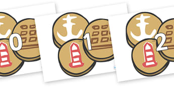 Numbers 0-31 on Sea Biscuits to Support Teaching on The Lighthouse Keeper's Lunch - 0-31, foundation stage numeracy, Number recognition, Number flashcards, counting, number frieze, Display numbers, number posters
