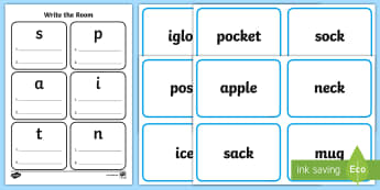 Write the Room satpin Activity Sheet - satpin, phonics, letter sounds, beginning sounds, phase 2, write the room