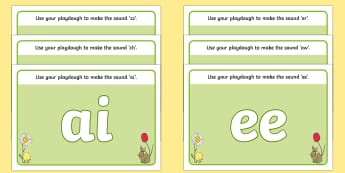 Spring Themed Phase 3 Phoneme Playdough Mats -  autumn, phoneme, fine motor, finger gym, letters and sounds