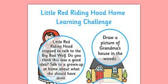 Little Red Riding Hood EYFS Home Learning Challenge Sheet Nursery FS1 - little red riding hood, eyfs, challenge