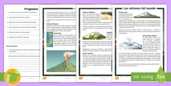 Comprensión lectora: Los volcanes del mundo - montes, geografía, Santa Helena, Vesubio, Krakatoa, Fuji, lectura,