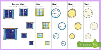 Day and Night Size Ordering - EYFS, Early Years, KS1, Key Stage 1, Maths, time, light and dark, size, shape, space and measure.