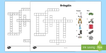 Bréagáin Crossword Gaeilge - gaeilge, irish, bréagáin, breagán, caitheamh aimsire, hobbies, playing,Irish