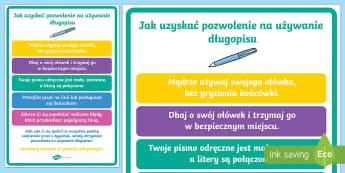 Plakat Jak zdobyć pozwolenie na używanie długopisu - pisanie, ręczne, odręczne, nauka, pisania, odręcznego, formowanie, liter, pozwolenie, pióro, dł