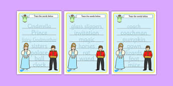 Cinderella Trace the Words Worksheets - cinderella, trace, words