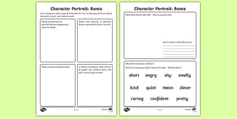 Character Profile Bunce Activity Sheet to Support Teaching on Fantastic Mr Fox - fantastic mr fox, character profile, character, profile, activity, bunce
