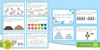 Tarjetas de desafío matemático: 1º de Primaria - El invierno - matemáticas, tarjetas, desafío, primero, sumas, suma, sumar, resta, restar, multiplicar.,Spanish
