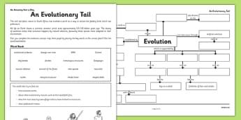 An Evolutionary Tail Activity Sheet - evolution, concept map, an evolutionary tail, worksheet